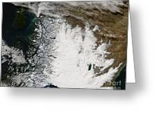 Ash Plume From Chaiten Volcano And Snow Greeting Card
