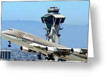 Asiana 747-400 And Lax Tower Greeting Card