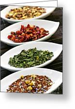 Assorted Herbal Wellness Dry Tea In Bowls Greeting Card