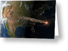 Asteroid Approaching Earth Greeting Card by Joe Tucciarone Library