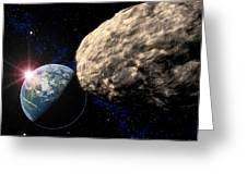 Asteroid Approaching Earth Greeting Card by Roger Harris