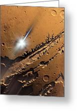 Asteroid Impact On Mars, Artwork Greeting Card by Detlev Van Ravenswaay