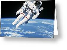Astronaut Floating In Space Greeting Card