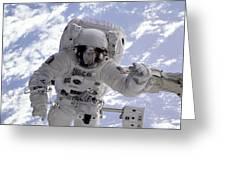 Astronaut Gernhardt On Robot Arm Greeting Card
