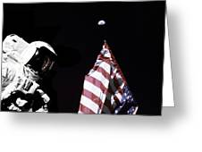 Astronaut Stands Next To The American Greeting Card