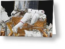 Astronaut Working On The Hubble Space Greeting Card