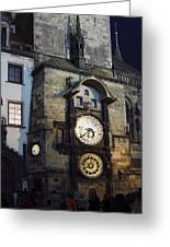 Astronomical Clock At Night Greeting Card
