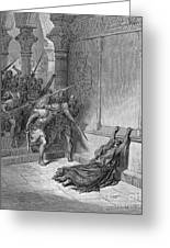 Athaliah (d. 836 B.c.). /nqueen Of Judah, C842-836 B.c. The Death Of Athaliah (ii Chronicles 22:10, 23:15). Wood Engraving, 19th Century, After Gustave Dor� Greeting Card
