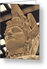 Athena Sculpture Sepia Greeting Card by Linda Phelps