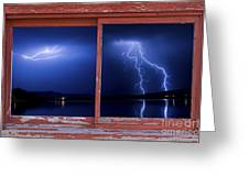 August Storm Red Barn Picture Window Frame Photo Art View Greeting Card