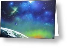 Auroa Borealis From Space Greeting Card