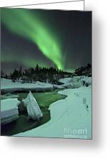 Aurora Borealis Over A Frozen Tennevik Greeting Card