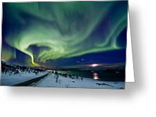 Aurora Over The Road Greeting Card by Frank Olsen