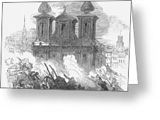 Austrian Revolution, 1848. Conflict At The University Of Vienna, Austria, During The Revolution Of 1848. Wood Engraving From A Contemporary English Newspaper Greeting Card