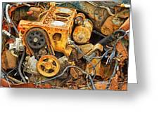 Auto Engine Block From A Wrecked Car Greeting Card
