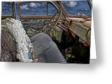 Auto Interior Of Abandoned Vehicle Greeting Card
