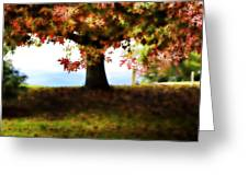 Autumn Acorn Tree Greeting Card