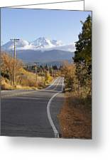 Autumn And Mt Shasta Down The Road Greeting Card
