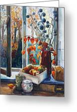 Autumn At The Kitchen Window Greeting Card