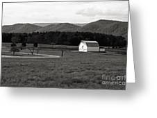 Autumn Barn In Green Bank Wv Bw Greeting Card