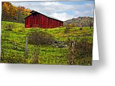 Autumn Barn Painted Greeting Card