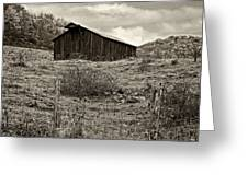 Autumn Barn Sepia Greeting Card
