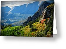 Autumn Below Evergreen Hills  Greeting Card