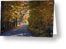 Autumn Country Road - Oil Greeting Card