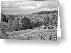 Autumn Farm 2 Monochrome Greeting Card