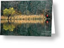 Autumn Fisherman Reflections Greeting Card