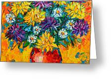 Autumn Flowers Gorgeous Mums - Original Oil Painting Greeting Card