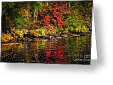 Autumn Forest And River Landscape Greeting Card