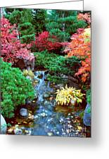 Autumn Garden Waterfall I Greeting Card