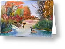 Autumn Geese Greeting Card by Crispin  Delgado