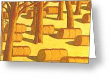 Autumn Haybales Greeting Card by John  Turner