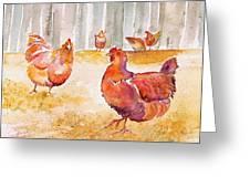 Autumn Hens Greeting Card