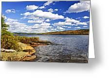 Autumn Lake Shore Greeting Card