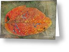 Autumn Leaf With Silver Trails Greeting Card