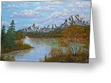 Autumn Mountains Lake Landscape Greeting Card