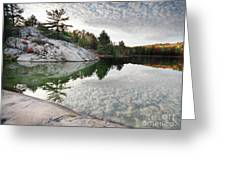 Autumn Nature Lake Rocks And Trees Greeting Card