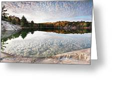Autumn Nature Lake Rocks And Trees Panorama Greeting Card