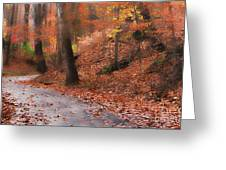 Autumn On A Quiet Country Lane Greeting Card