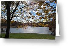 Autumn Overlooking The Dam Greeting Card