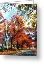 Autumn Street Perspective Greeting Card