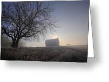 Autumn Sunrise Over Barn On A Farm Greeting Card