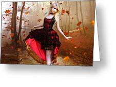 Autumn Waltz Greeting Card by Mary Hood