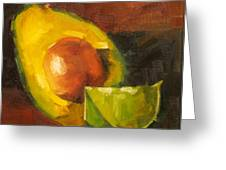 Avocado And Lemon Greeting Card by Jose Romero