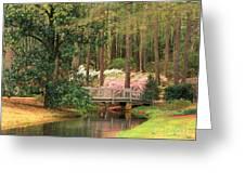 Azaleas And Footbridge Greeting Card