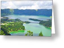 Azores-lakes Greeting Card by Jenny Senra Pampin