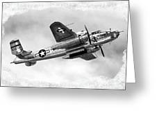 B25 In Flight Greeting Card by Greg Fortier